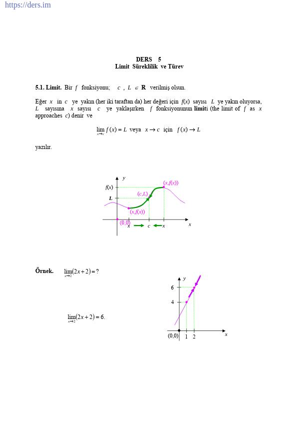 Limit Süreklilik ve Türev Konu Anlatımı Ders Notu PDF