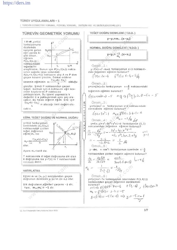Türevin Geometrik Yorumu Türev Ders Notu PDF