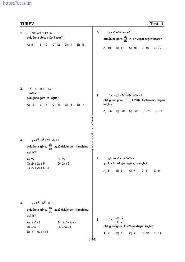 Türev Kolay Sorular PDF
