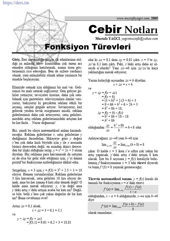 Türev Alma Kuralları Ders Notu PDF