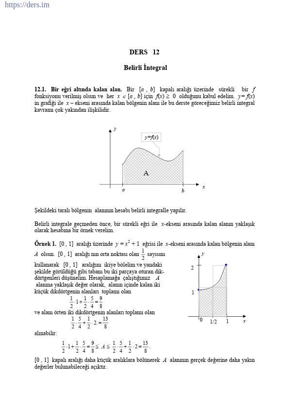 Belirli İntegral Konu Anlatımı Ders Notu PDF