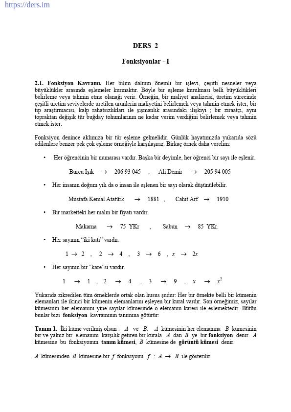 Fonksiyonlar Ders Notu PDF