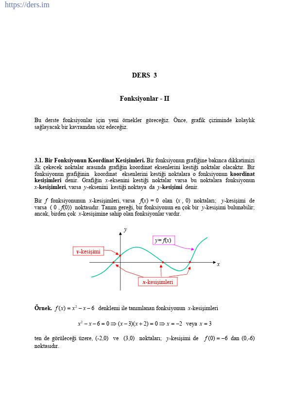 Fonksiyonlarda Grafik Çizimi Konu Anlatımı Ders Notu PDF