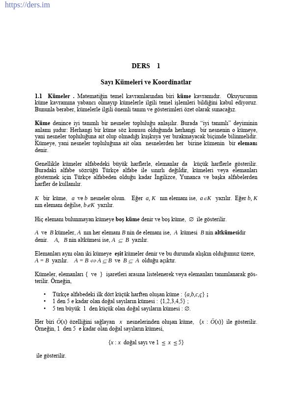 Kümeler Ders Notu PDF