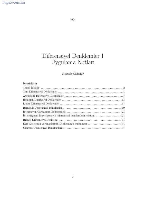 Diferansiyel Denklemler Ders Notu PDF