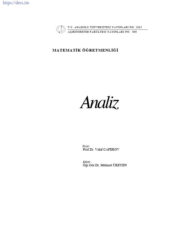 Matematik Sayılar Ders Notları PDF