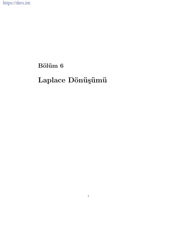 Laplace Dönüşümü Ders Notu Konu Anlatımı