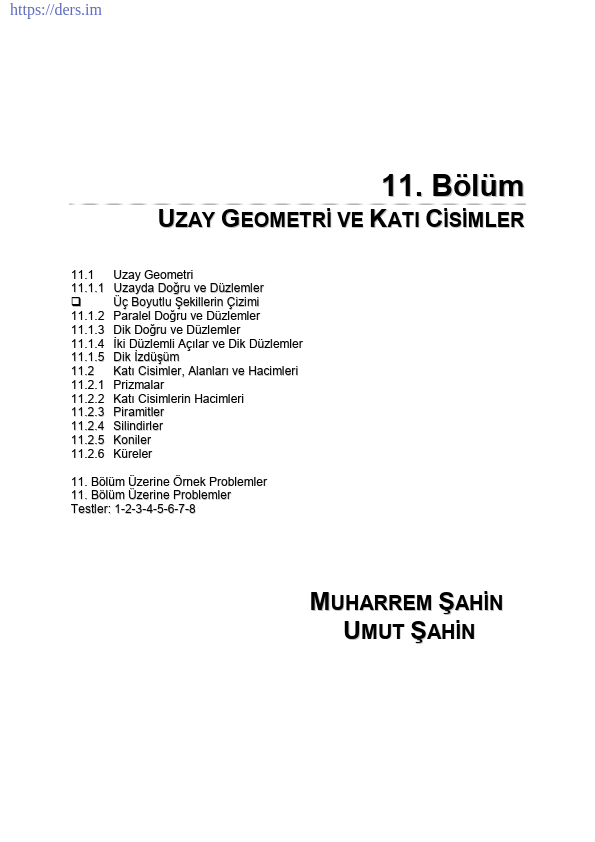 UZAY GEOMETRİ VE KATI CİSİMLER DERS NOTU PDF
