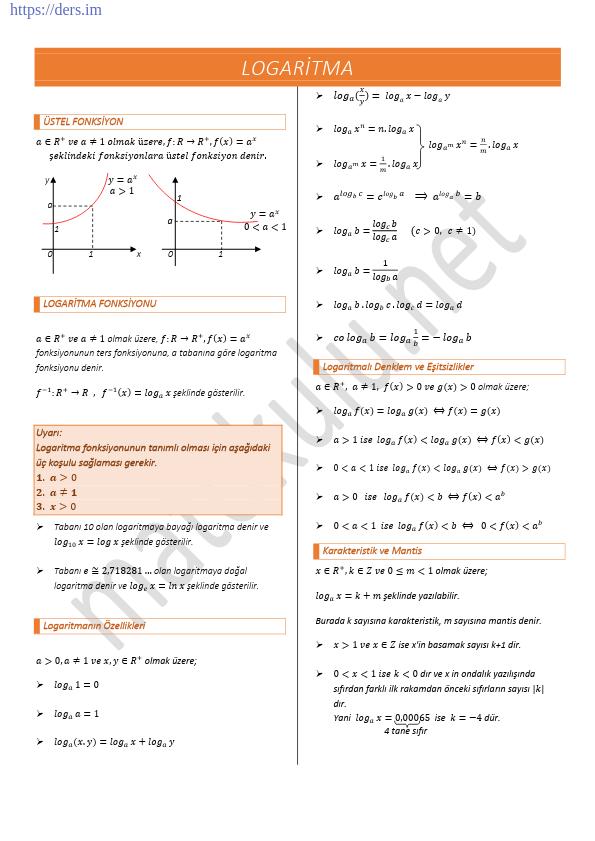 Logaritma Formülleri Kuralları