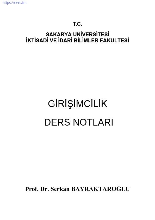 GİRİŞİMCİLİK DERS NOTLARI