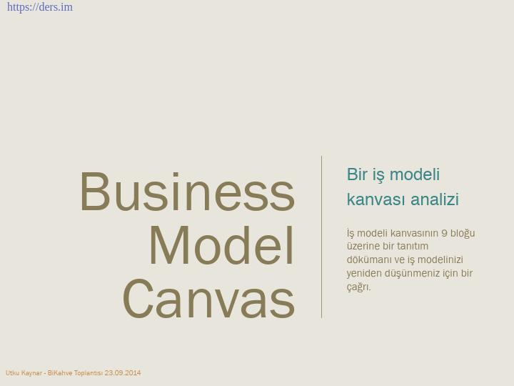 Business Canvas Modeli - İş Kanvas Modeli