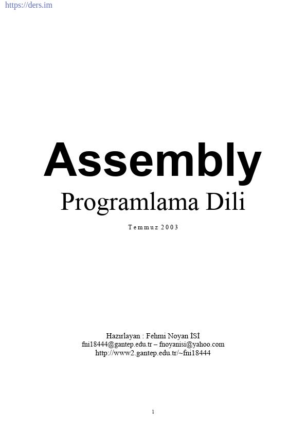 Assembly Programlama Dili Ders Notları