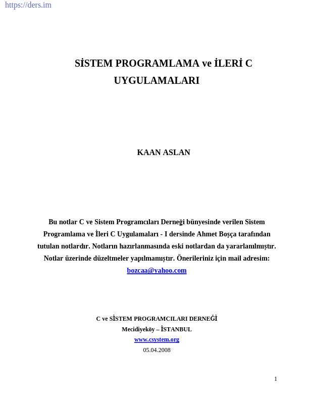 Sistem Programlama ve İleri C Uygulamaları
