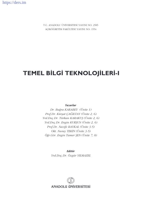 Temel Bilgi Teknolojileri Ders Notu PDF