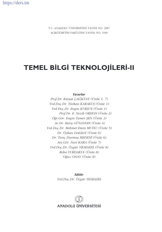 Temel Bilgi Teknolojileri - 2 Ders Notu PDF