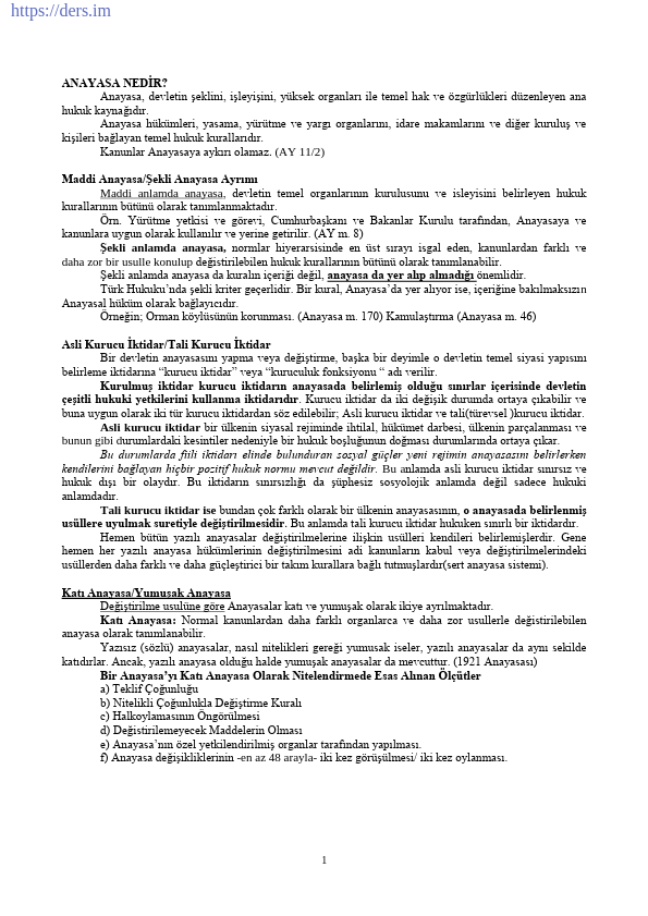 Türk Anayasa Hukuku Ders Notu PDF