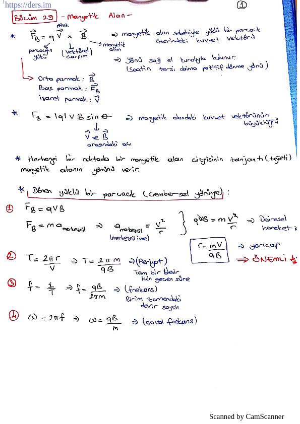 Akım direnç ve manyetik alan formülleri