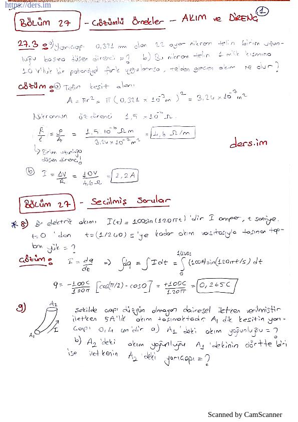Fizik 2 Akım Ve Direnç Soru Çözümleri