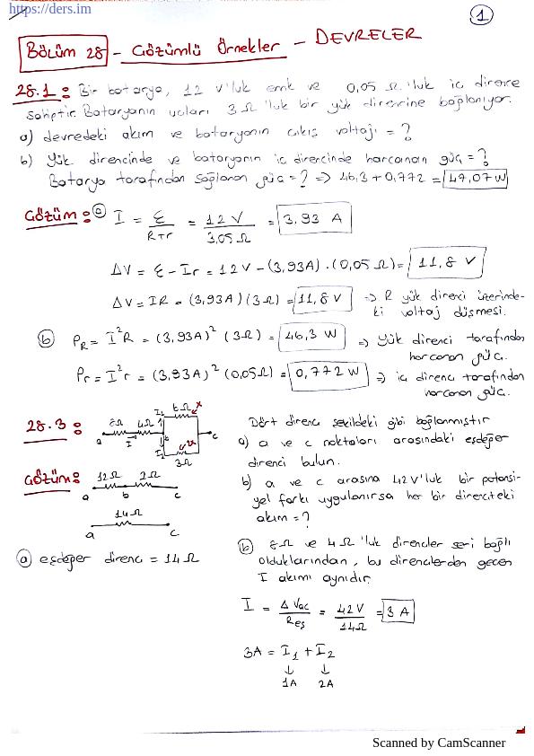 Serway Fizik 2 Devreler Soru Çözümleri
