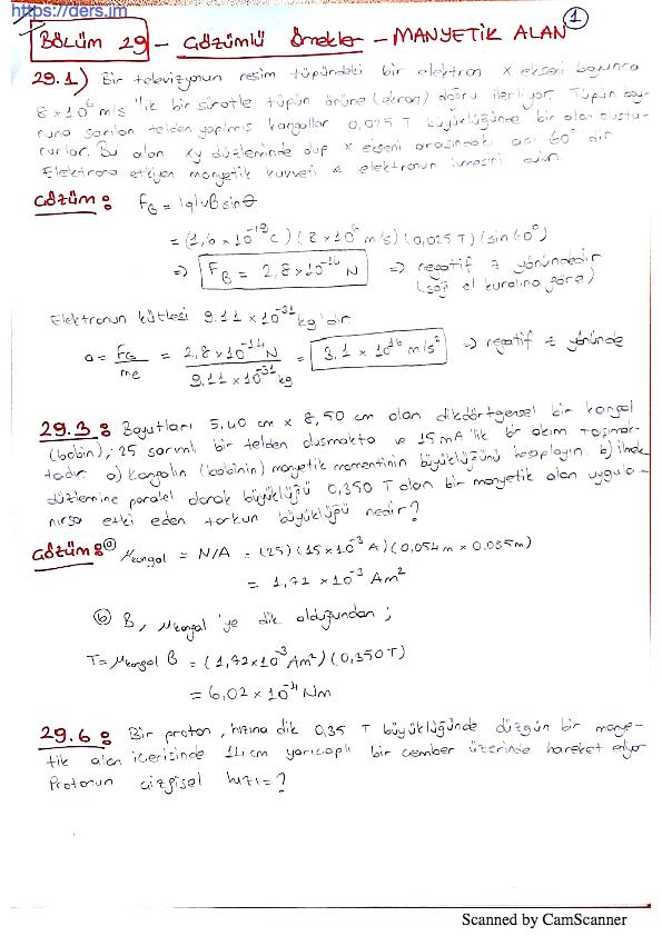 Serway Fizik 2 Manyetik Alan Soru Çözümleri