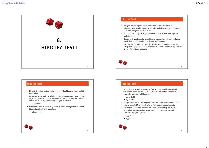 Olasılık Ve İstatistik Hipotez Testi - Final Öncesi