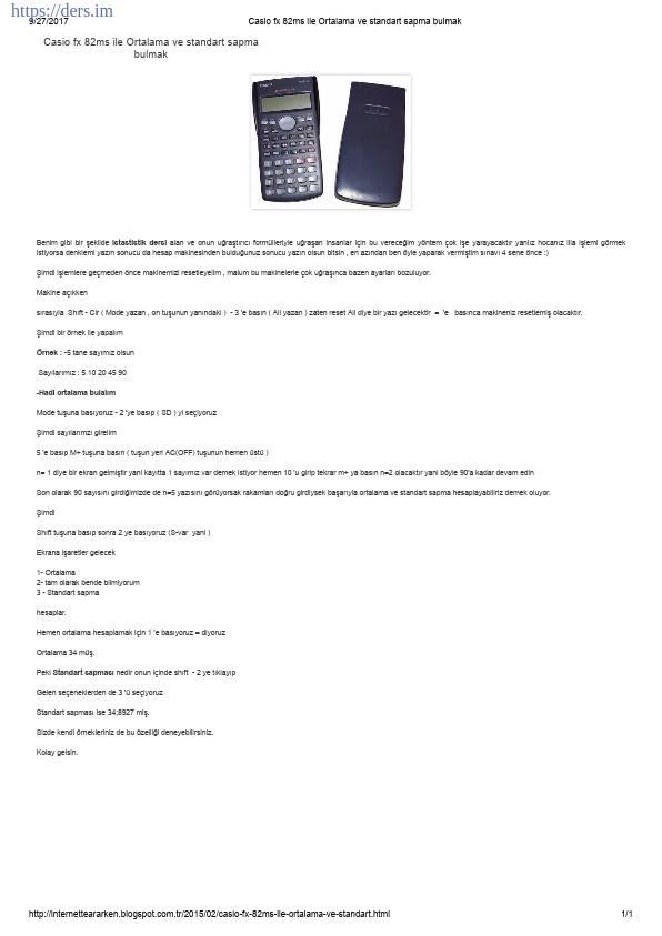 Casio FX 82ms ile Ortalama ve Standart Sapma Bulmak