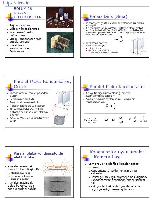 Kondansatörler Sığa Ve Dielektrikler Konu Anlatımı PDF