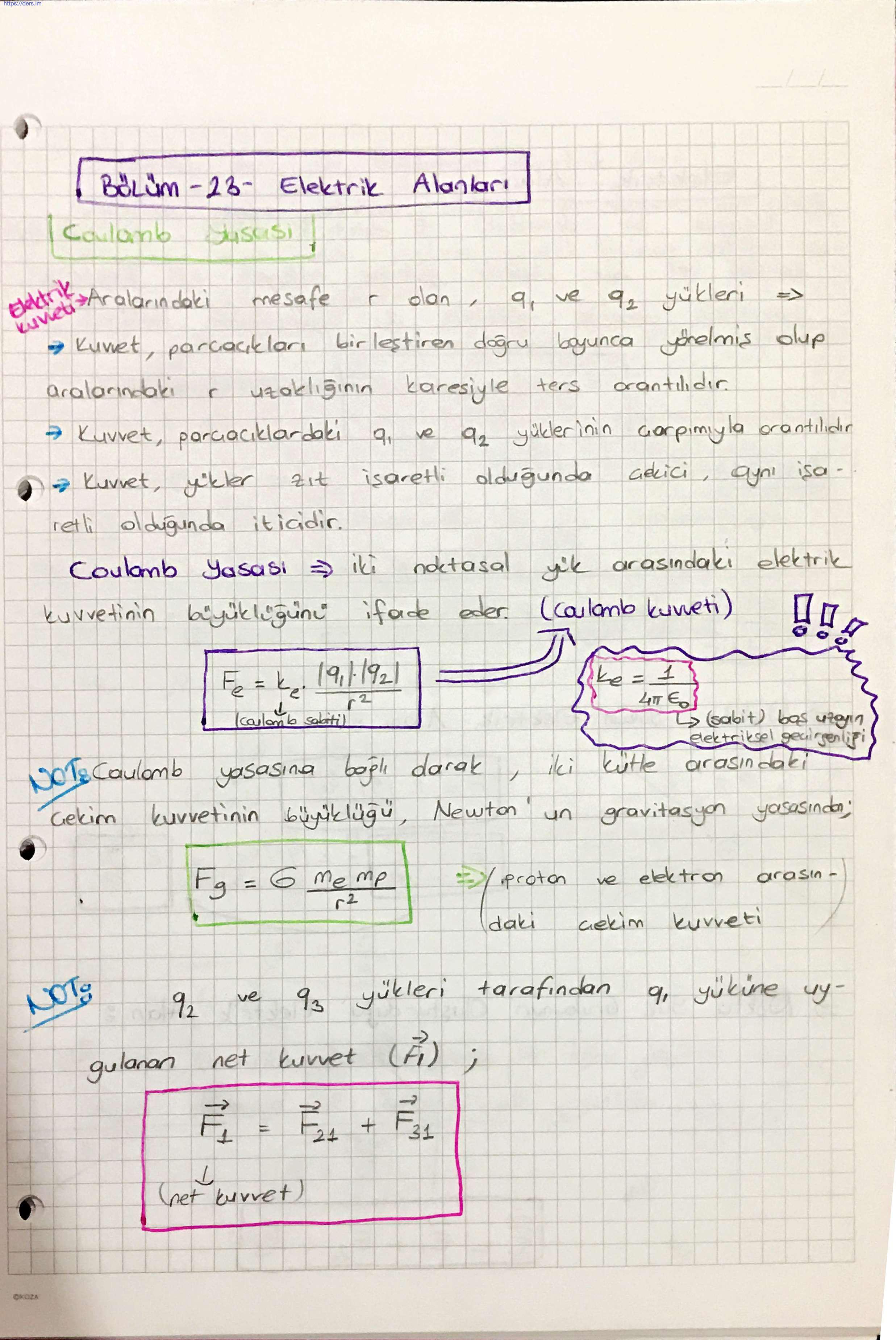 23, 24, 25 - Elektrik Alanlar, Coulomb Yasası, Gauss Yasası, Elektrik Akısı, Elektrik Potansiyel konu anlatımlarını içermektedir.