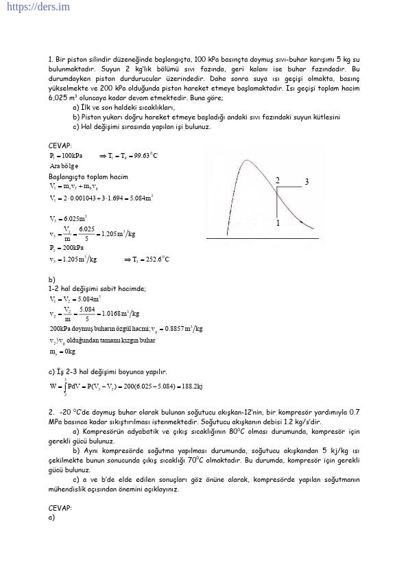 Termodinamik Dersi Çözümlü Sorular