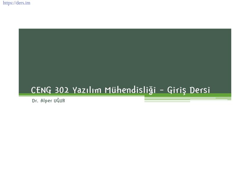 Yazılım mühendisliği Pamukkale Üniversitesi Giriş dersi - Alper Uğur