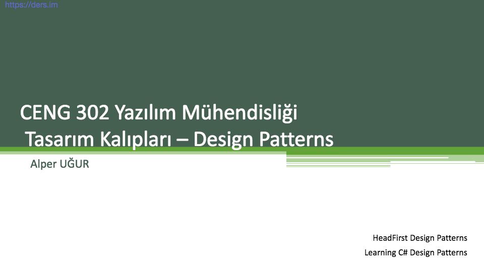 Yazılım mühendisliği Pamukkale Üniversitesi 10. Ders - Alper Uğur