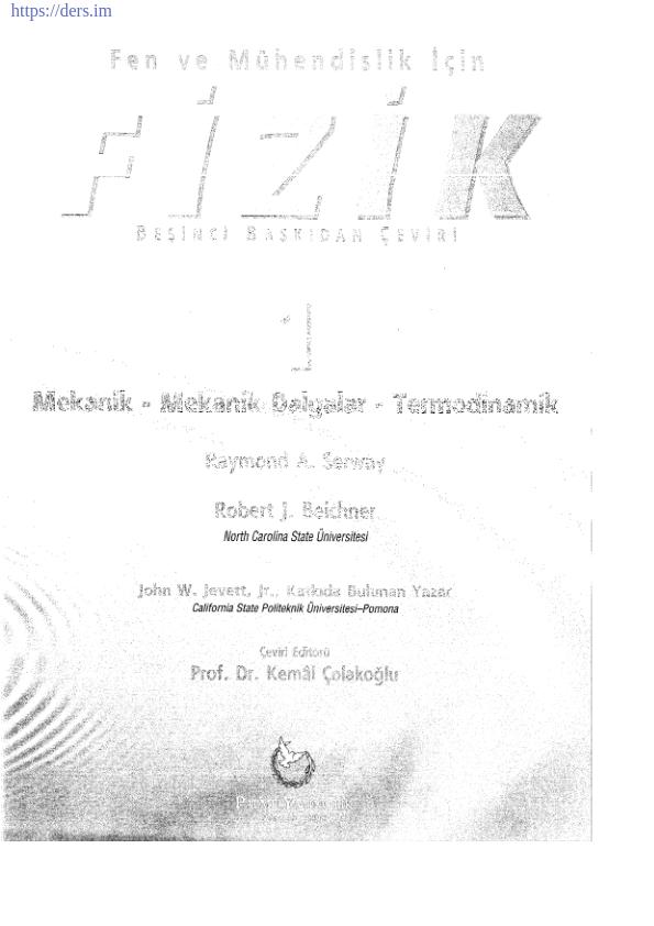 Serway Fizik 1 Kitabı Türkçe Çeviri