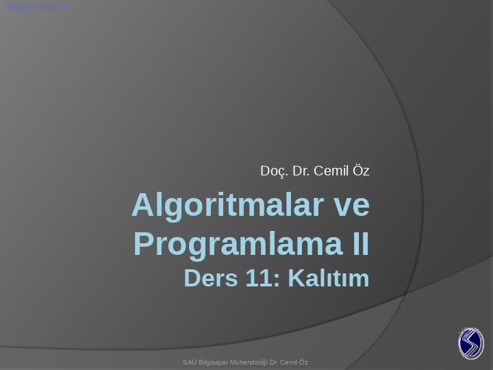 Algoritmalar ve Programlama / Kalıtım Ders Notları