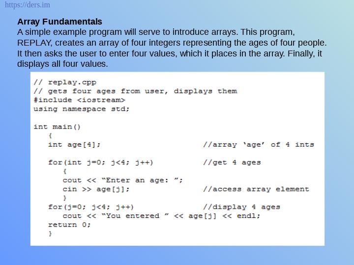C++  Dizi ve String Ders Notları