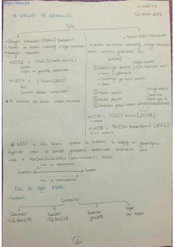 Pamukkale Üniversitesi iş sağlığı güvenliği ders notları