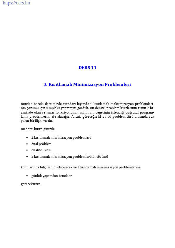 ≥ Kısıtlamalı Minimizasyon Problemleri