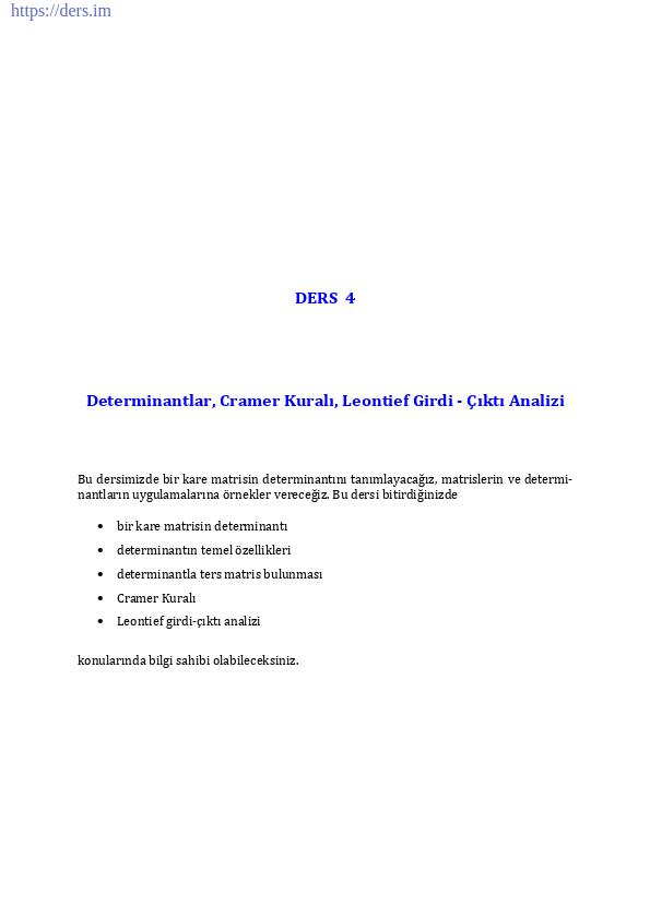 Determinantlar, Cramer Kuralı, Leontief Girdi - Çıktı Analizi
