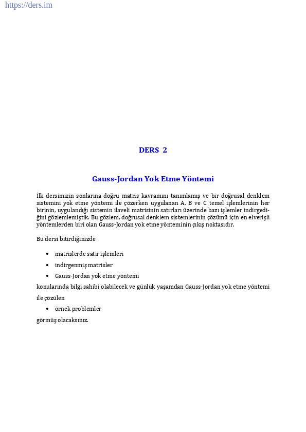Gauss-Jordan Yok Etme Yöntemi