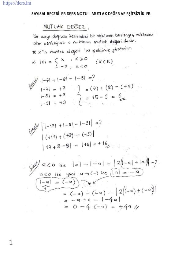 Mutlak değer ve eşitsizlikler konu anlatımlı ders notu, mutlak değerin özellikleri, fonksiyon grafikleri, tek çift fonksiyonlar