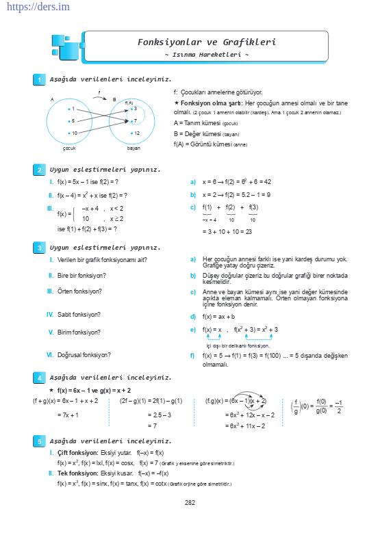 Matematik fonksiyon grafiği çizimleri konu anlatımı ders notu