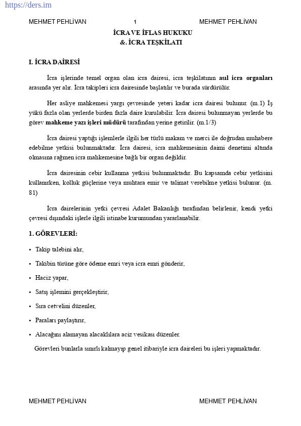 İcra Ve İflas Hukuku Ders Notu PDF