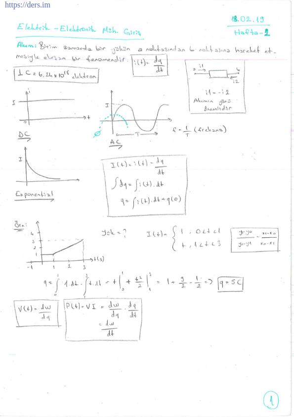 Pamukkale Üniversitesi Bilgisayar Mühendisliği bölümü 2. sınıf bahar dönemine ait Meriç Çetin'in verdiği Elektrik Elektronik Mühendisliğine Giriş ders notları