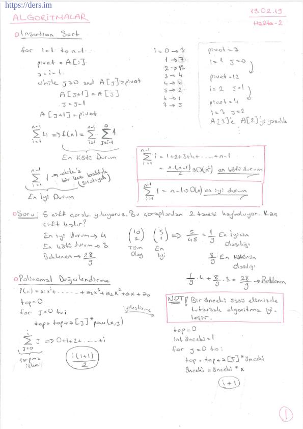 Algoritmalar Ders Notu