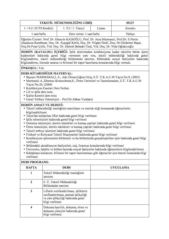 Tekstil Mühendısliğine Giriş - Ege Üniversitesi Tekstil Mühendisliği ...