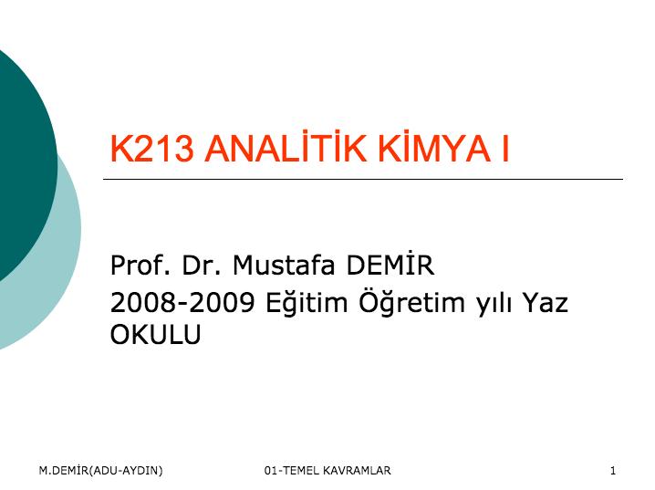 K213 ANALITIK KIMYA I