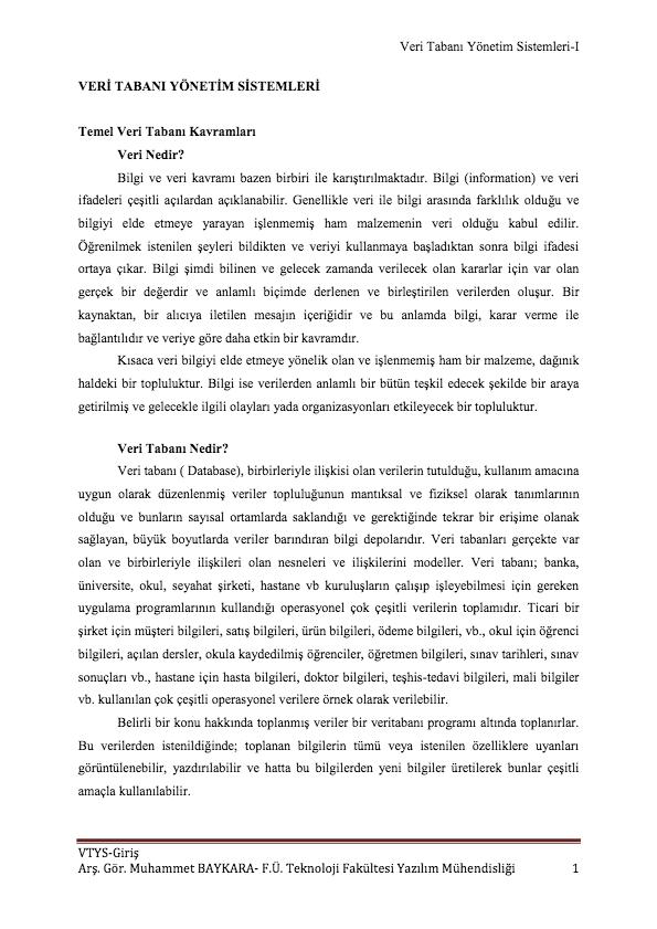 VERI TABANI YÖNETIM SISTEMLERI-I VTYS-GIRIŞ ARŞ. GÖR. MUHAMMET