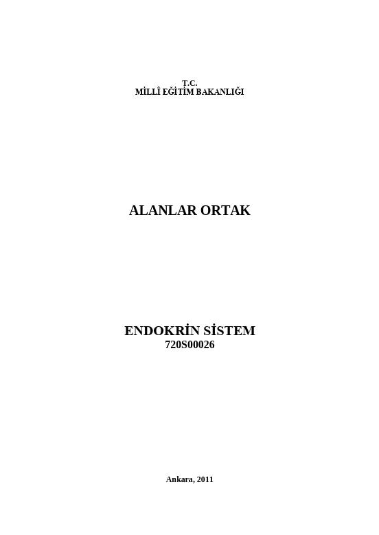 Endokrin Sistem ders notu pdf