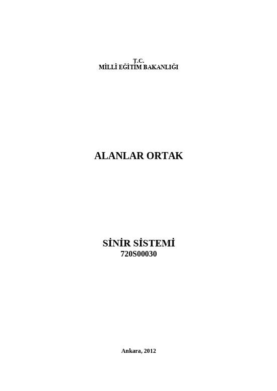 Sinir Sistemi ders notu pdf