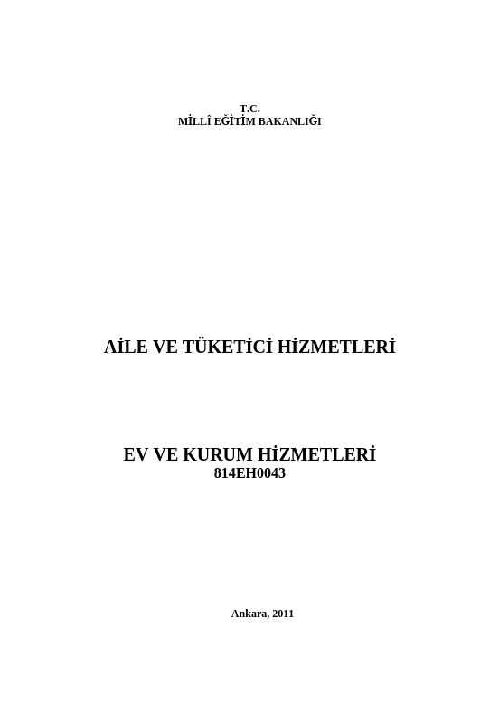 Ev Ve Kurum Hizmetleri ders notu pdf