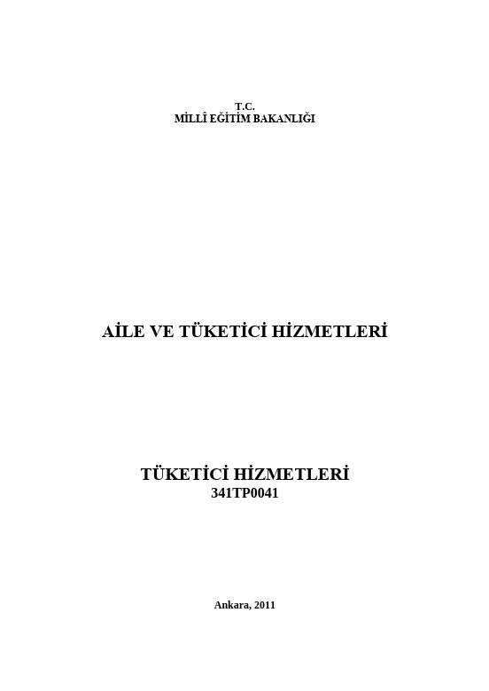 Tüketici Hizmetleri ders notu pdf